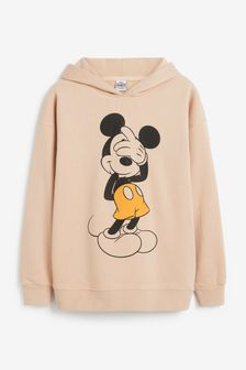Beige Mickey Mouse Graphic Hoodie