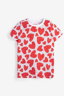 Red Heart Print T-Shirt (3-16yrs)