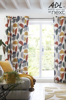Marie Adeline At Next Multi Grey/Yellow/Red Geo Eyelet Curtains