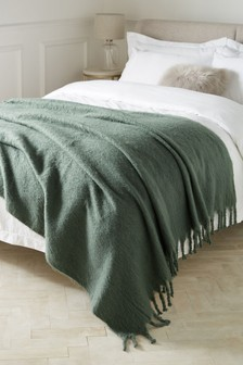 Green Soft Faux Mohair Throw