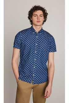 Indigo Slim Fit Geo Print Short Sleeve Shirt