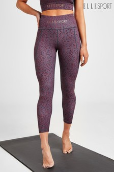 ELLE Sport Yoga High Waisted Pocket Detail Leopard 7/8 Leggings