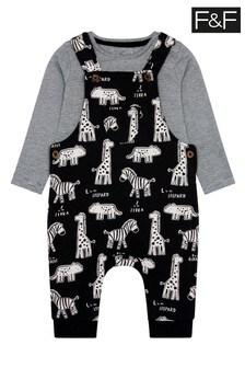 F&F Black Zebra Sweat Dungaree Set