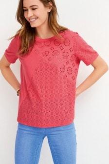 Red Spliced Broderie T-Shirt