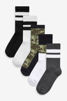 Monochrome 5 Pack Cotton Rich Cushioned Sports Socks (Older)