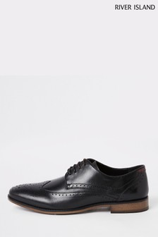 River Island Roger Leather Black Brogues