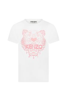 Kenzo Kids Girls White Cotton T-Shirt