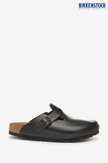 Birkenstock Black Leather Boston Clogs