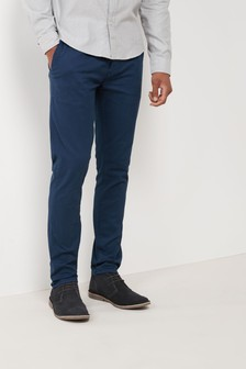 Dark Blue Slim Fit Stretch Chinos