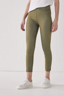 Khaki/Gold Stripe Jersey Cropped Leggings