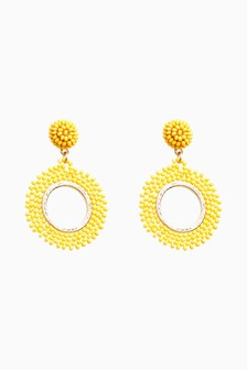 Gold Tone Yellow Bead Circle Drop Earrings
