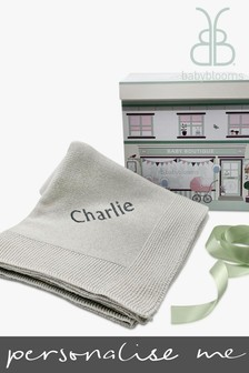 Babyblooms Personalised Grey Luxury Knitted Blanket Baby Gift