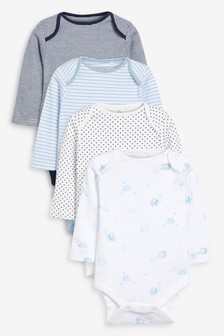 Blue/White 4 Pack Elephant Long Sleeve Bodysuits (0mths-3yrs)