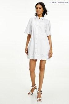 Tommy Hilfiger White Daisy Cutwork Shirt Dress