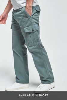 Blue Straight Fit Premium Laundered Cargo Trousers