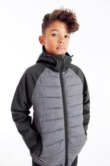 Grey Mixed Fabric Padded Jacket (3-16yrs)