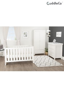 White Aylesbury 3pc set 3 Drawer Dresser Changer, Cot Bed and 2 Door Double Wardrobe by CuddleCo