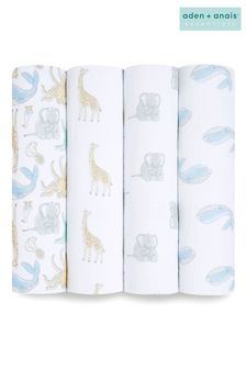 aden + anais™ Essentials Natural History Cotton Muslin 4 Pack Swaddle Blanket