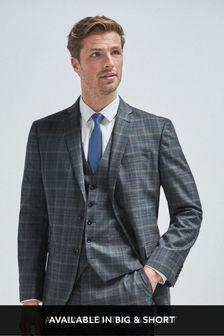 Steel/Aqua Regular Fit Check Suit: Jacket