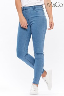 M&Co Blue Flat Front Jeggings
