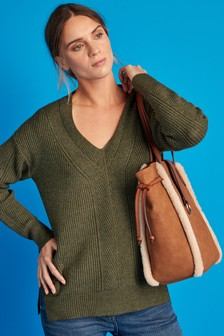 Khaki Long V-Neck Jumper