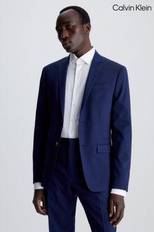 Calvin Klein Blue Stretch Wool Slim Blazer