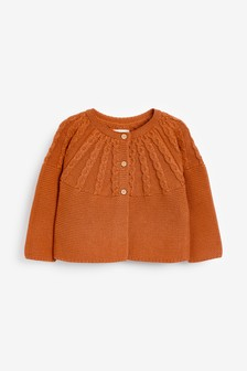 Rust Cable Detailed Cardigan (0mths-2yrs)