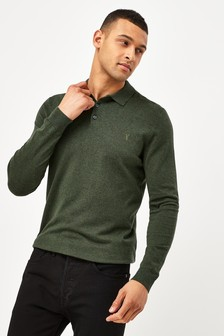Khaki With Stag Embroidery Knitted Polo Shirt