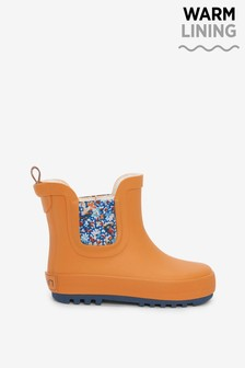 Ochre Yellow Floral Warm Lined Chelsea Boot Wellies