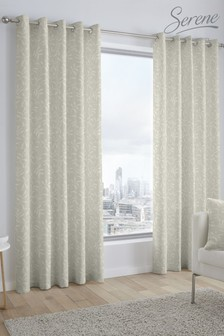 Alexa Jacquard Eyelet Curtains by Serene