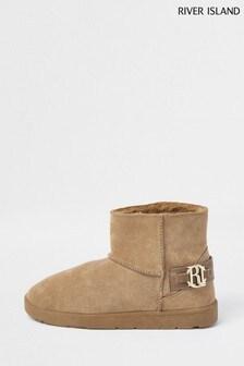 River Island Cream Beige Dark 7436 Faux Fur Lined Boots
