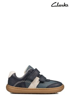 Clarks Navy Leather Flash Metra Toddlers Shoes