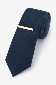 Navy Slim Textured Tie With Tie Clip