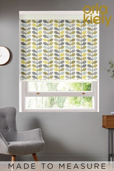 Scribble Stem Seagrass And Duck Egg Green Made To Measure Roller Blind by Orla Kiely