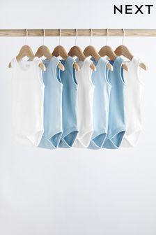 Blue/White 7 Pack Vest Bodysuits (0mths-3yrs)