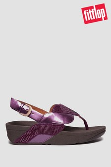 FitFlop™ Purple Paisley Glitter Rope Back Strap Sandals