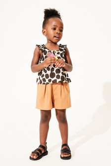 Monochrome Animal Print Blouse And Shorts Co-ord Set (3mths-7yrs)