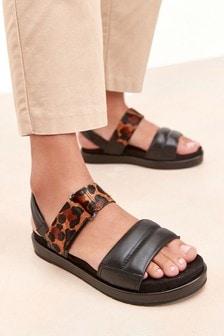 Black/Animal Forever Comfort® With Motion Flex Slingback Sandals