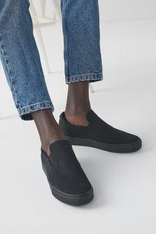 Black Canvas Regular/Wide Fit Forever Comfort® Skater Shoes