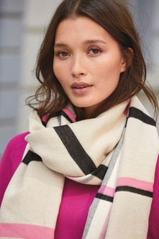 Neutral Check Midweight Scarf