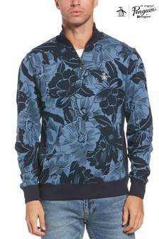 Original Penguin Blue 1/4 Zip Indigo Floral Sweatshirt