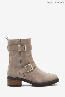Mint Velvet Elena Grey Suede Biker Boots