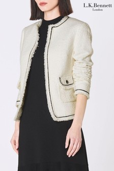 L.K.Bennett White Mercer Tweed Effect Jacket