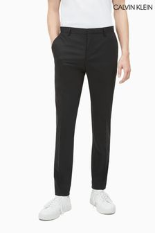 Calvin Klein Black Stretch Wool Slim Trousers