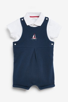 Blue Smart Dungarees And Bodysuit Set (0mths-2yrs)