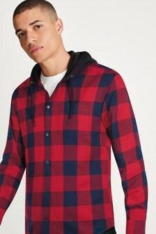 Red/Black Hooded Check Shirt