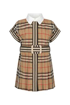 Burberry Kids Baby Girls Beige Cotton Dress