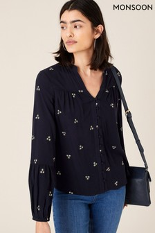 Monsoon Blue Navy Embroidered Top