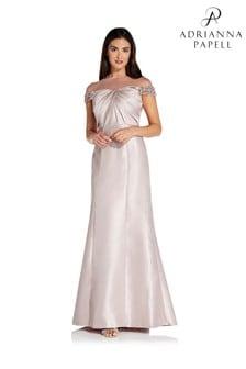 Adrianna Papell Pink Illusion Mikado Dress