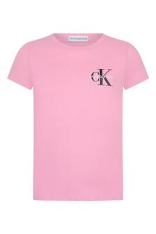 Calvin Klein الجينز بنات الوردي القطن العضوي شعار الأعلى